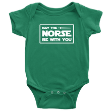 Load image into Gallery viewer, May The Norse Be With You Baby Bodysuit Baby Bodysuit / Kelly / NB - Scandinavian Design Studio