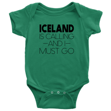 Load image into Gallery viewer, Iceland Is Calling And I Must Go Baby Bodysuit Baby Bodysuit / Kelly / NB - Scandinavian Design Studio