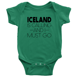 Iceland Is Calling And I Must Go Baby Bodysuit Baby Bodysuit / Kelly / NB - Scandinavian Design Studio