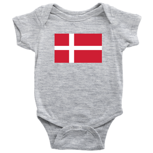Danish Flag Baby Bodysuit Baby Bodysuit / Heather Grey / NB - Scandinavian Design Studio