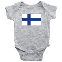 Load image into Gallery viewer, Finnish Flag Baby Bodysuit Baby Bodysuit / Heather Grey / NB - Scandinavian Design Studio