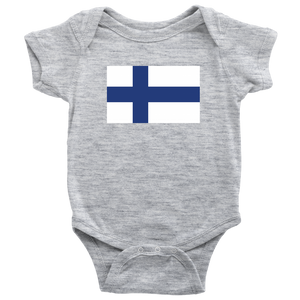 Finnish Flag Baby Bodysuit Baby Bodysuit / Heather Grey / NB - Scandinavian Design Studio