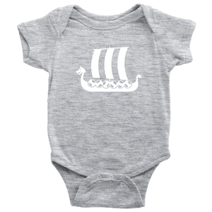 Viking Ship Baby Bodysuit Baby Bodysuit / Heather Grey / NB - Scandinavian Design Studio