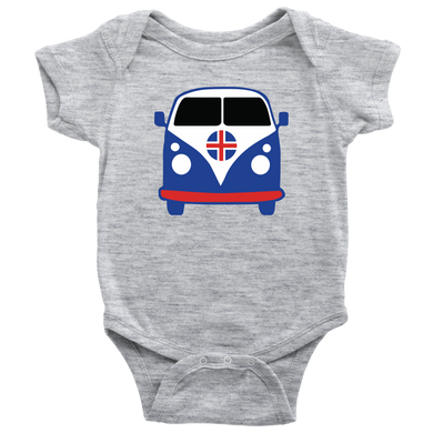 Icelandic VW Van Baby Bodysuit Baby Bodysuit / Heather Grey / NB - Scandinavian Design Studio