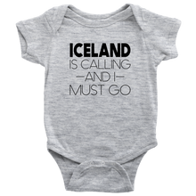Load image into Gallery viewer, Iceland Is Calling And I Must Go Baby Bodysuit Baby Bodysuit / Heather Grey / NB - Scandinavian Design Studio