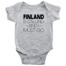 Load image into Gallery viewer, Finland Is Calling And I Must Go Baby Bodysuit Baby Bodysuit / Heather Grey / NB - Scandinavian Design Studio