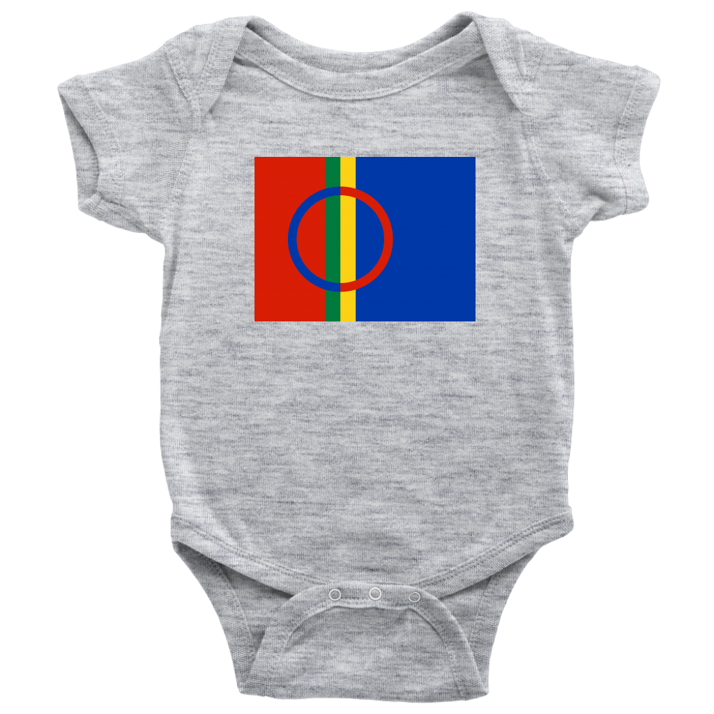 Sami Flag Baby Bodysuit Baby Bodysuit / Heather Grey / NB - Scandinavian Design Studio
