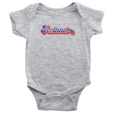 Retro Iceland Baby Bodysuit Baby Bodysuit / Heather Grey / NB - Scandinavian Design Studio