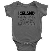Load image into Gallery viewer, Iceland Is Calling And I Must Go Baby Bodysuit Baby Bodysuit / Asphalt / NB - Scandinavian Design Studio