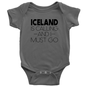 Iceland Is Calling And I Must Go Baby Bodysuit Baby Bodysuit / Asphalt / NB - Scandinavian Design Studio