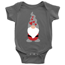 Load image into Gallery viewer, Valentine's Day Boy Gnome Baby Bodysuit Baby Bodysuit / Asphalt / NB - Scandinavian Design Studio