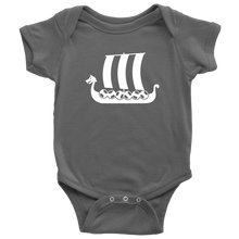 Load image into Gallery viewer, Viking Ship Baby Bodysuit Baby Bodysuit / Asphalt / NB - Scandinavian Design Studio