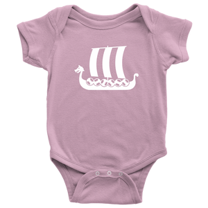 Viking Ship Baby Bodysuit Baby Bodysuit / Pink / NB - Scandinavian Design Studio
