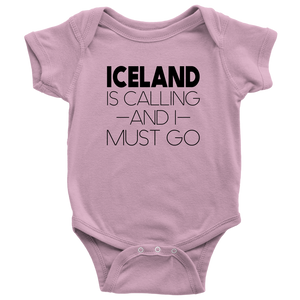 Iceland Is Calling And I Must Go Baby Bodysuit Baby Bodysuit / Pink / NB - Scandinavian Design Studio