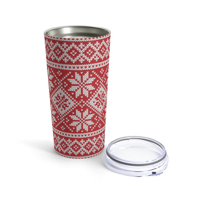 Red Norwegian Ski Sweater Print 20 oz Insulated Tumbler 20oz - Scandinavian Design Studio
