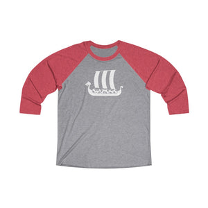 Viking Ship 3/4 Raglan Tee Vintage Red / Premium Heather / XS - Scandinavian Design Studio