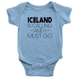Iceland Is Calling And I Must Go Baby Bodysuit Baby Bodysuit / Light Blue / NB - Scandinavian Design Studio