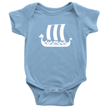 Load image into Gallery viewer, Viking Ship Baby Bodysuit Baby Bodysuit / Light Blue / NB - Scandinavian Design Studio