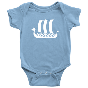 Viking Ship Baby Bodysuit Baby Bodysuit / Light Blue / NB - Scandinavian Design Studio