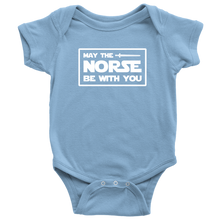 Load image into Gallery viewer, May The Norse Be With You Baby Bodysuit Baby Bodysuit / Light Blue / NB - Scandinavian Design Studio