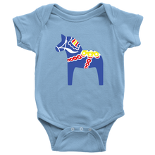 Load image into Gallery viewer, Traditional Dala Horse Baby Bodysuit Baby Bodysuit / Light Blue / NB - Scandinavian Design Studio