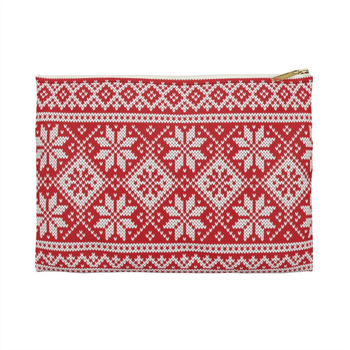 Red Norwegian Ski Sweater Accessory Pouch