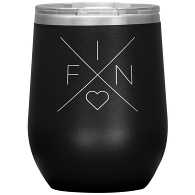 Finland Love Wine Tumbler Black - Scandinavian Design Studio