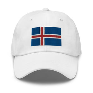 Icelandic Flag Embroidered Hat White - Scandinavian Design Studio