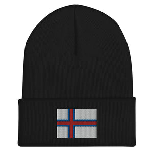 Faroese Flag Embroidered Beanie Black - Scandinavian Design Studio