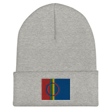 Load image into Gallery viewer, Sami Flag Embroidered Beanie Heather Grey - Scandinavian Design Studio