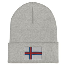Load image into Gallery viewer, Faroese Flag Embroidered Beanie Heather Grey - Scandinavian Design Studio