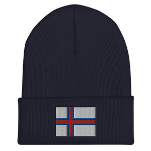 Faroese Flag Embroidered Beanie Navy - Scandinavian Design Studio