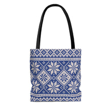 Load image into Gallery viewer, Blue Norwegian Ski Sweater Print Tote Bag