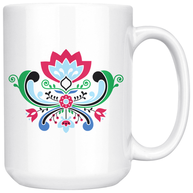 Midsummer Rosemaling Large Coffee Mug White - Scandinavian Design Studio