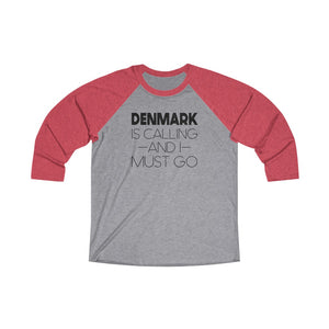 Denmark Is Calling And I Must Go 3/4 Raglan Tee Vintage Red / Premium Heather / XS - Scandinavian Design Studio