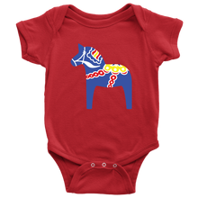 Load image into Gallery viewer, Traditional Dala Horse Baby Bodysuit - Scandinavian Design Studio