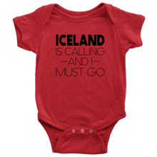 Load image into Gallery viewer, Iceland Is Calling And I Must Go Baby Bodysuit Baby Bodysuit / Red / NB - Scandinavian Design Studio