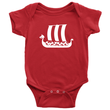 Load image into Gallery viewer, Viking Ship Baby Bodysuit Baby Bodysuit / Red / NB - Scandinavian Design Studio