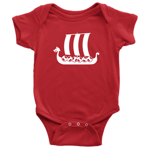 Viking Ship Baby Bodysuit Baby Bodysuit / Red / NB - Scandinavian Design Studio