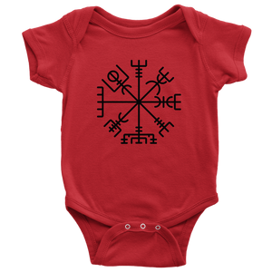 Viking Compass Baby Bodysuit Baby Bodysuit / Red / NB - Scandinavian Design Studio