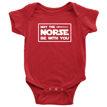 Load image into Gallery viewer, May The Norse Be With You Baby Bodysuit Baby Bodysuit / Red / NB - Scandinavian Design Studio