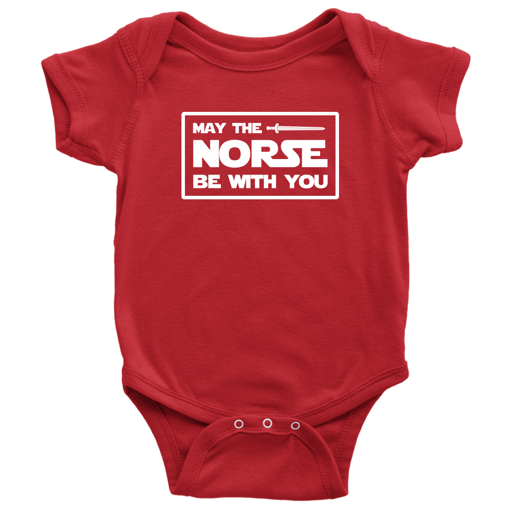 May The Norse Be With You Baby Bodysuit Baby Bodysuit / Red / NB - Scandinavian Design Studio