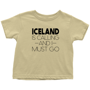 Iceland Is Calling And I Must Go Toddler Tee Toddler T-Shirt / Lemon / 2T - Scandinavian Design Studio
