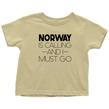 Load image into Gallery viewer, Norway Is Calling And I Must Go Toddler Tee Toddler T-Shirt / Lemon / 2T - Scandinavian Design Studio