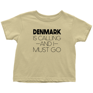 Denmark Is Calling And I Must Go Toddler Tee Toddler T-Shirt / Lemon / 2T - Scandinavian Design Studio