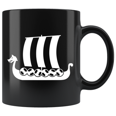 Viking Ship Coffee Mug Black - Scandinavian Design Studio