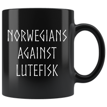 Load image into Gallery viewer, Norwegians Against Lutefisk Coffee Mug Black - Scandinavian Design Studio