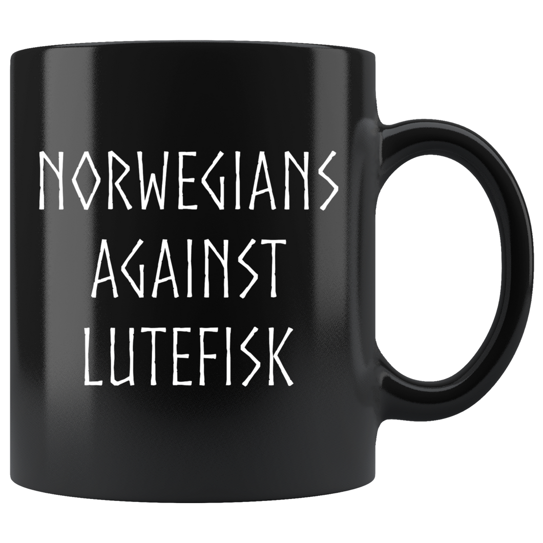 Norwegians Against Lutefisk Coffee Mug Black - Scandinavian Design Studio