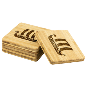 Viking Ship Bamboo Coaster Set
