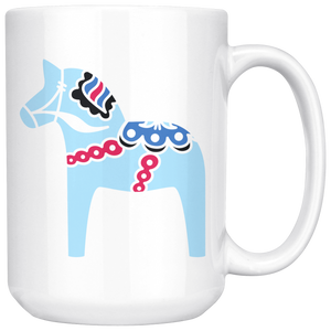 Modern Dala Horse Large Coffee Mug white - Scandinavian Design Studio